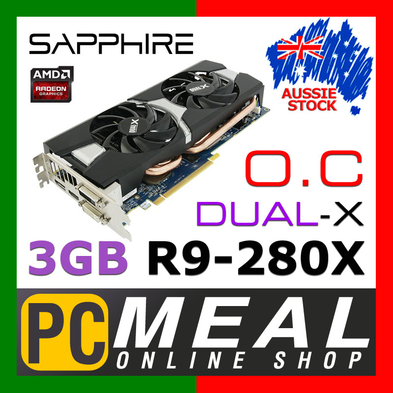 SAPPHIRE-AMD-Radeon-R9-280X-OC-3GB-Gaming-Video-Card-DUAL-X-Graphics-HDMI-DVI-DP